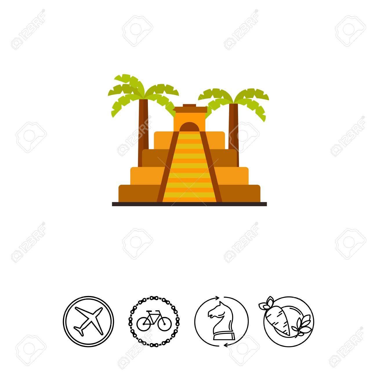 Icon of Aztec pyramid with palms  Aztec civilization, ziggurat,