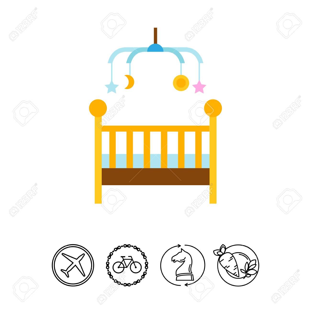 Icono De Cama De Bebé Y Móvil. Muebles, Guardería, Infancia ...