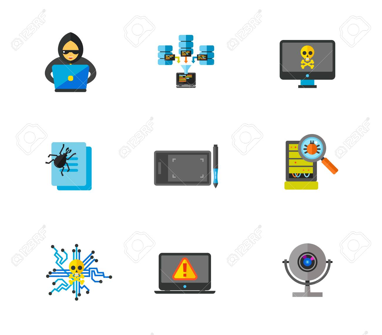 Hacker icon set and data center contains bonus icon Drawing tablet