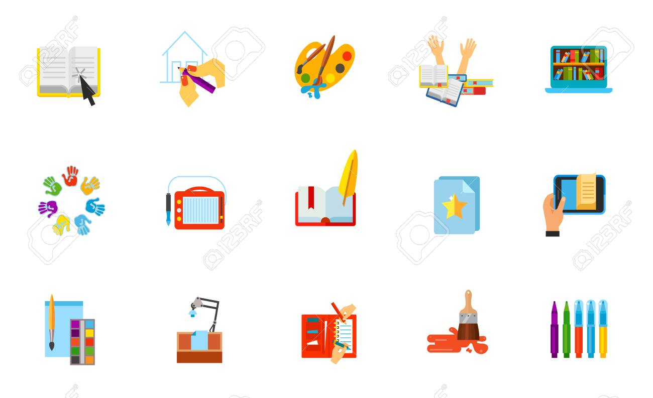 Drawing And Library Icon Set. Online Materials Pen Paints Exam ...