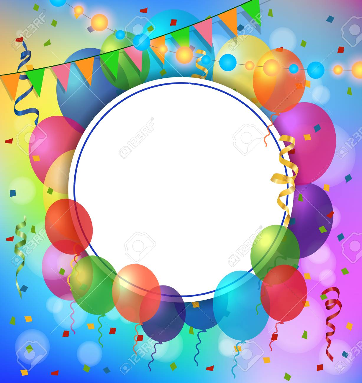 Greeting Card Round Frame And Balloons Royalty Free Cliparts