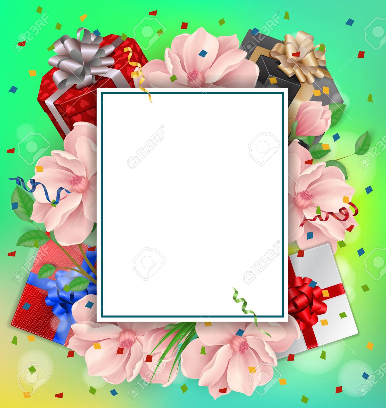 blank greeting card with paper sheet gifts and flowers for