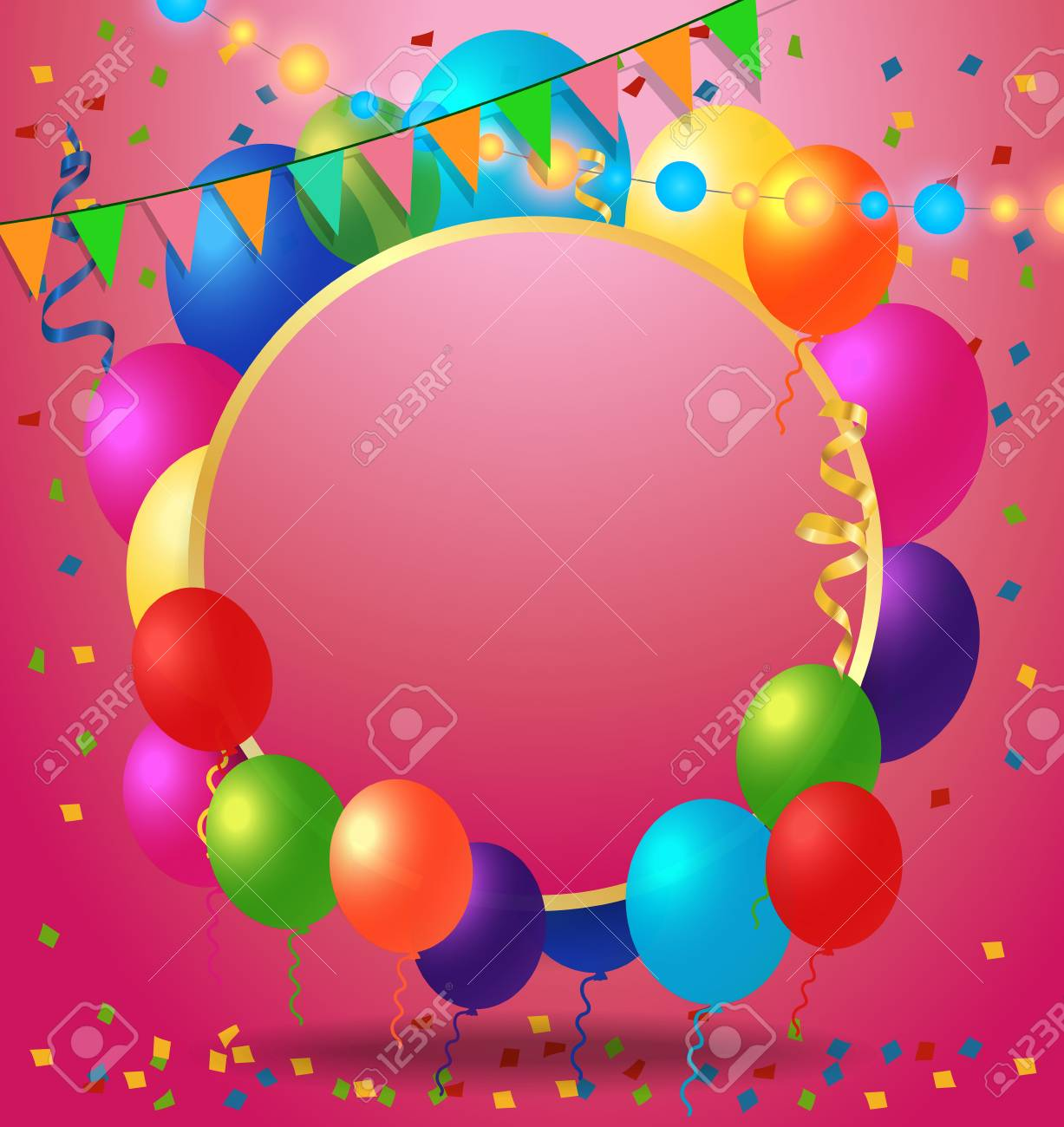 Blank Greeting Card With Round Frame Balloons And Garland For