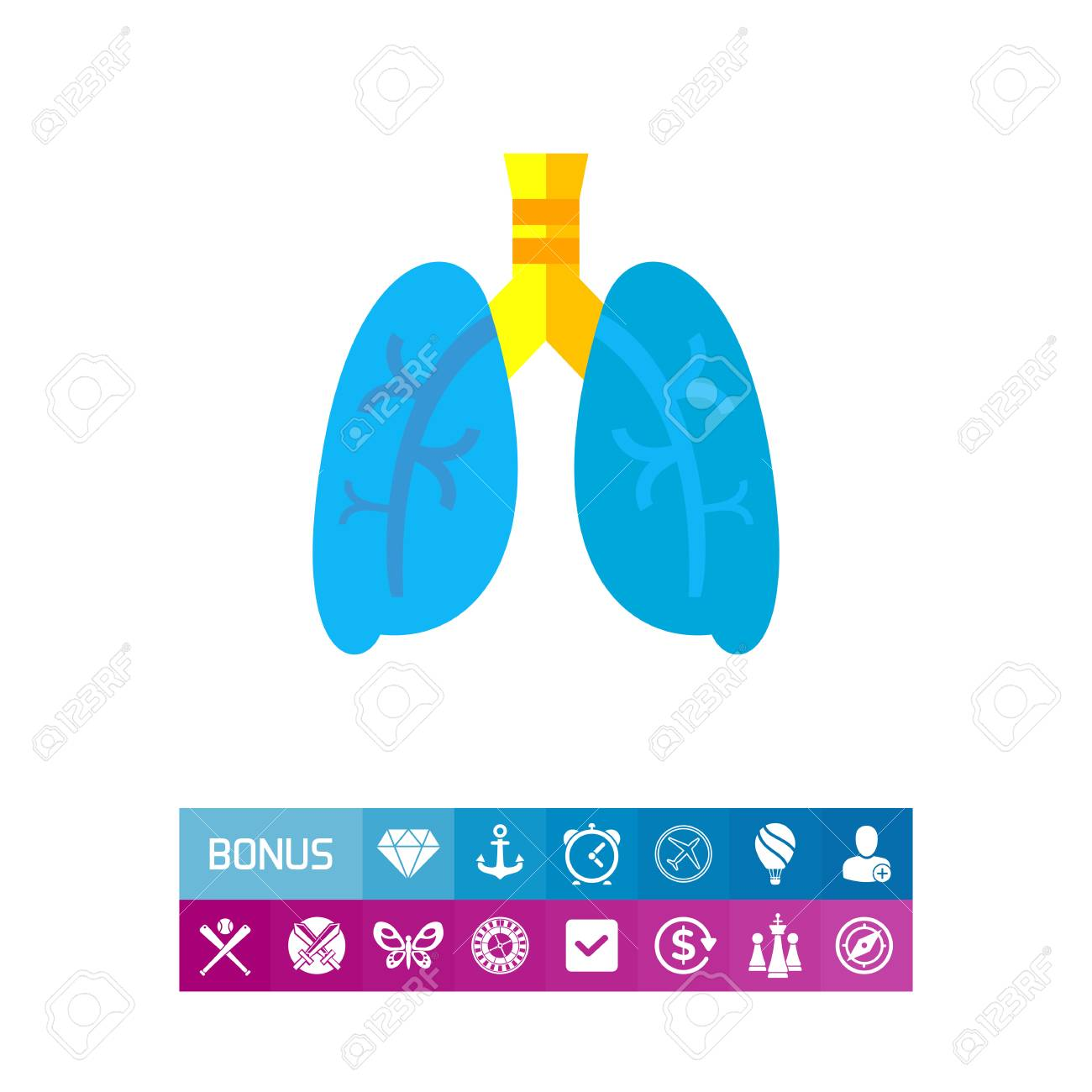 Lungs Illustration For Respiratory System Organ Concept Can