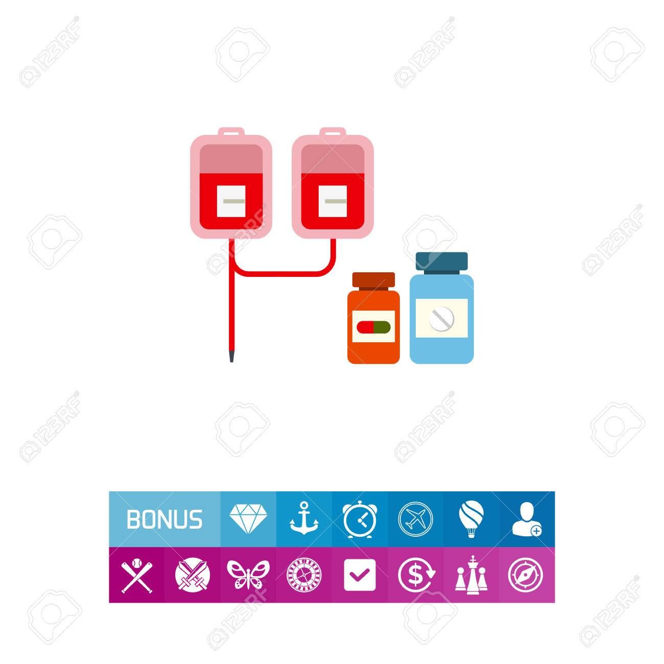 Multicolored vector icon of medical drip with iv bags and two pill bottles - 82518198