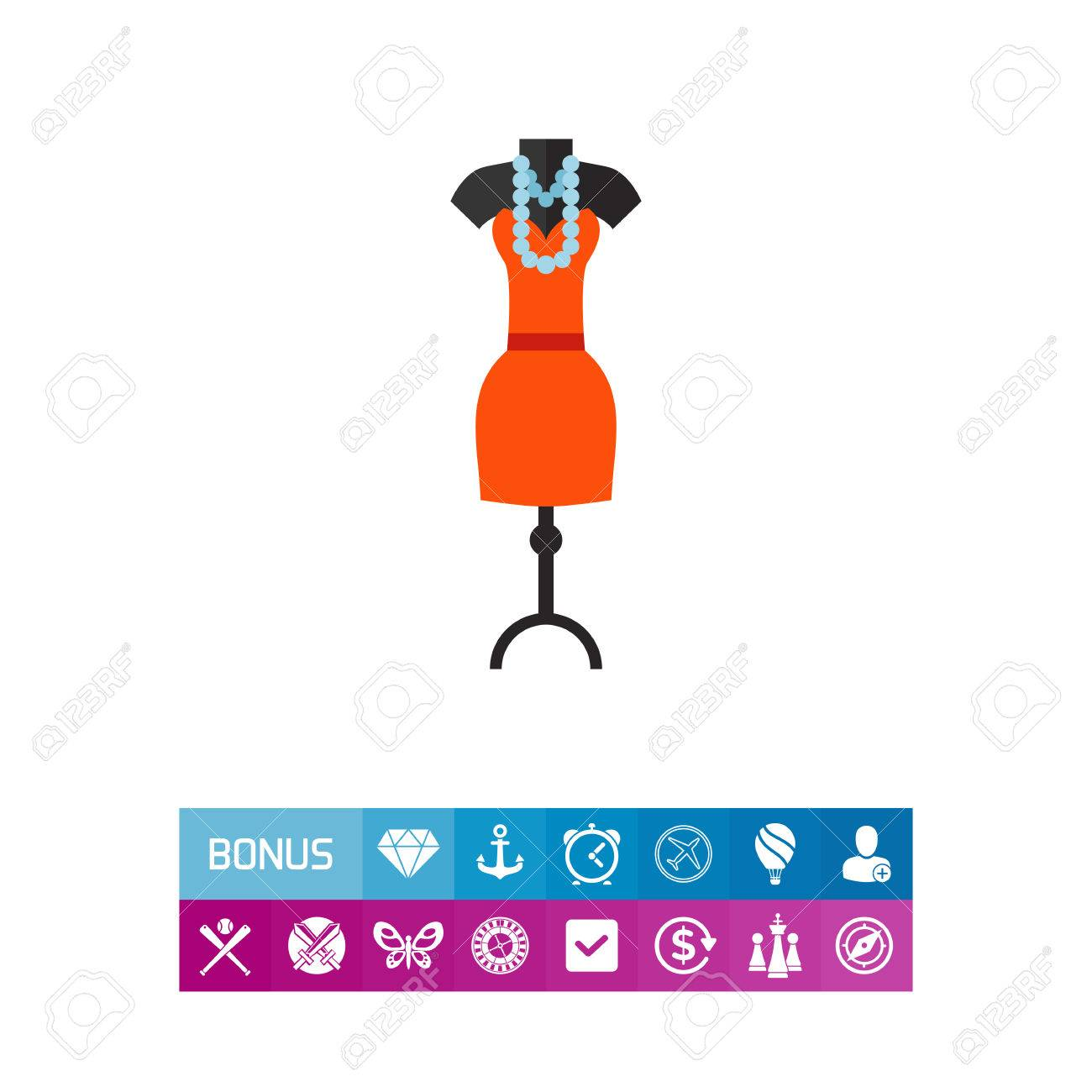 Vector icon of dummy with dress model and beads. Evening dress, fashion designer, boutique. Fashion show concept. Can be used for topics like fashion, beauty, shopping - 83064237