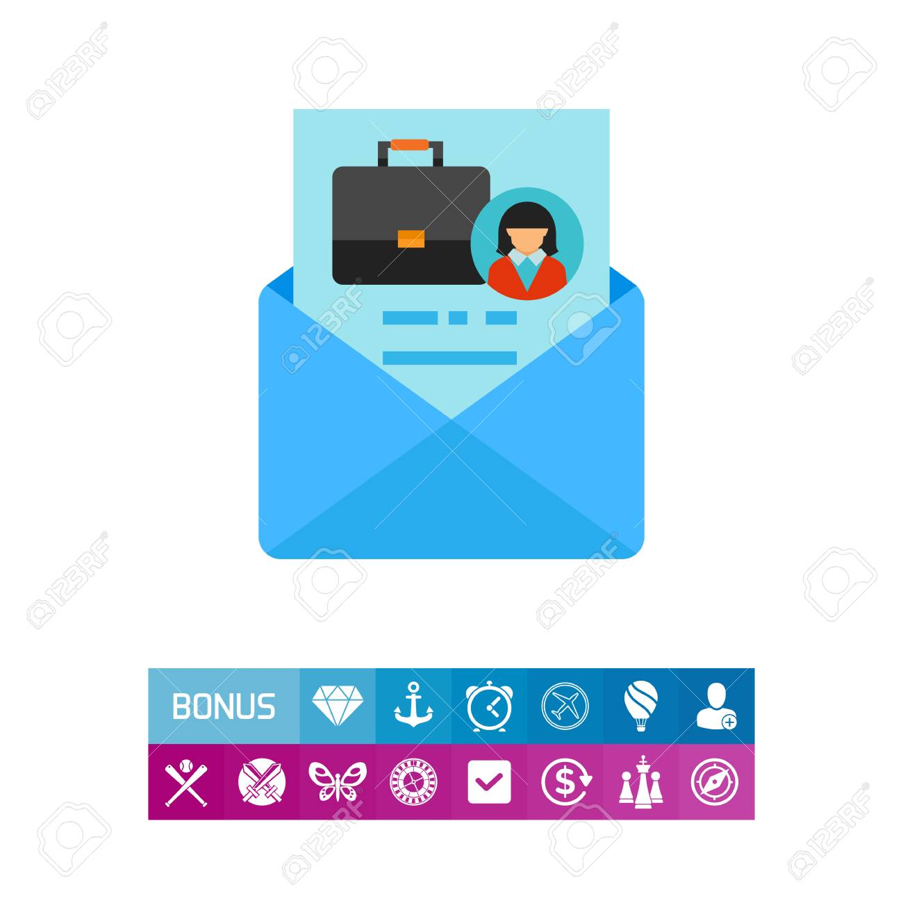 Envelope With Cover Letter Vector Icon Royalty Free Cliparts