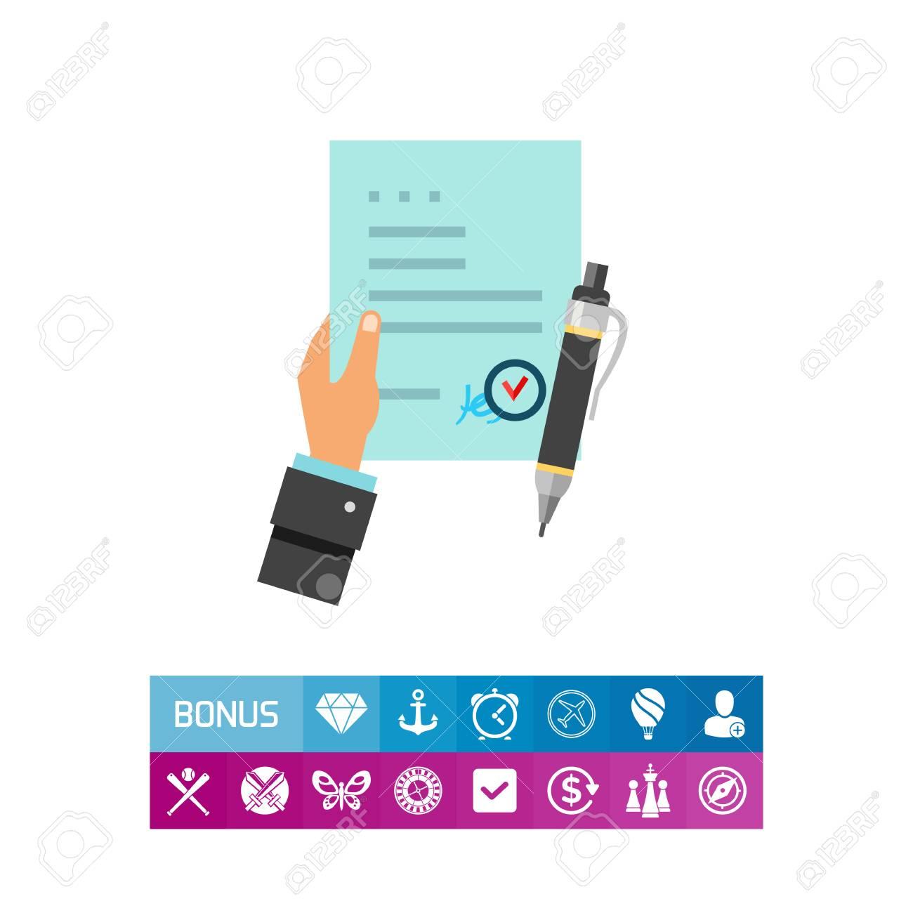 Man Hand Hält Vertrag Vereinbarung Symbol Lizenzfrei Nutzbare