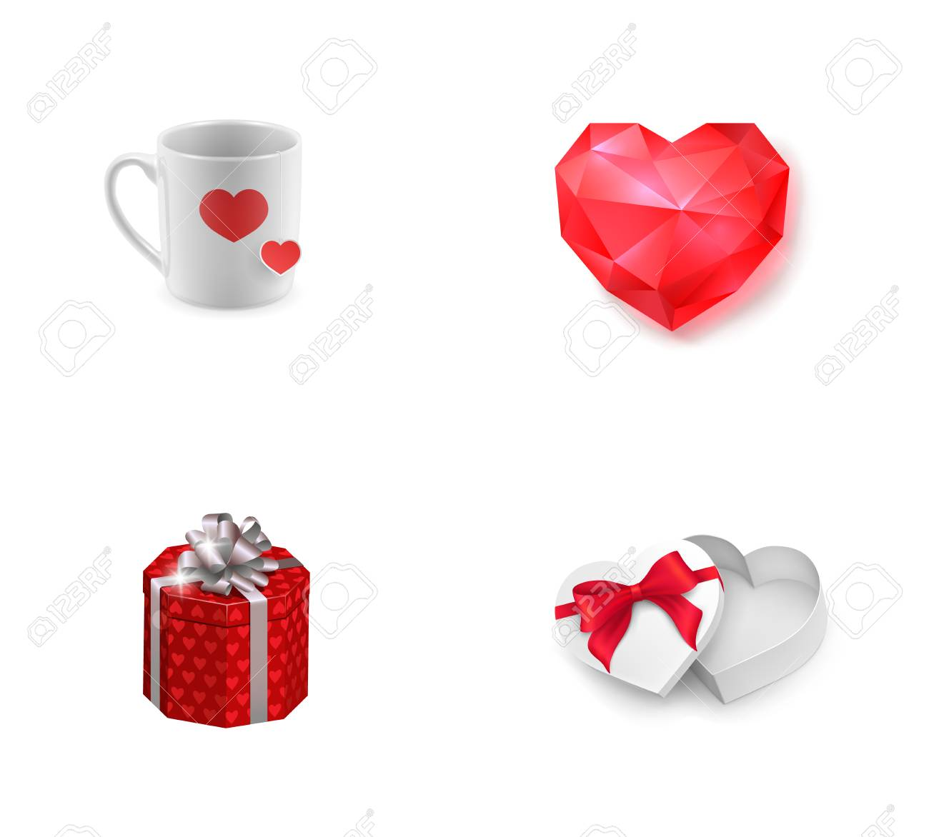 Valentines Day Presents Icon Set Cup With Hearts Ruby Heart