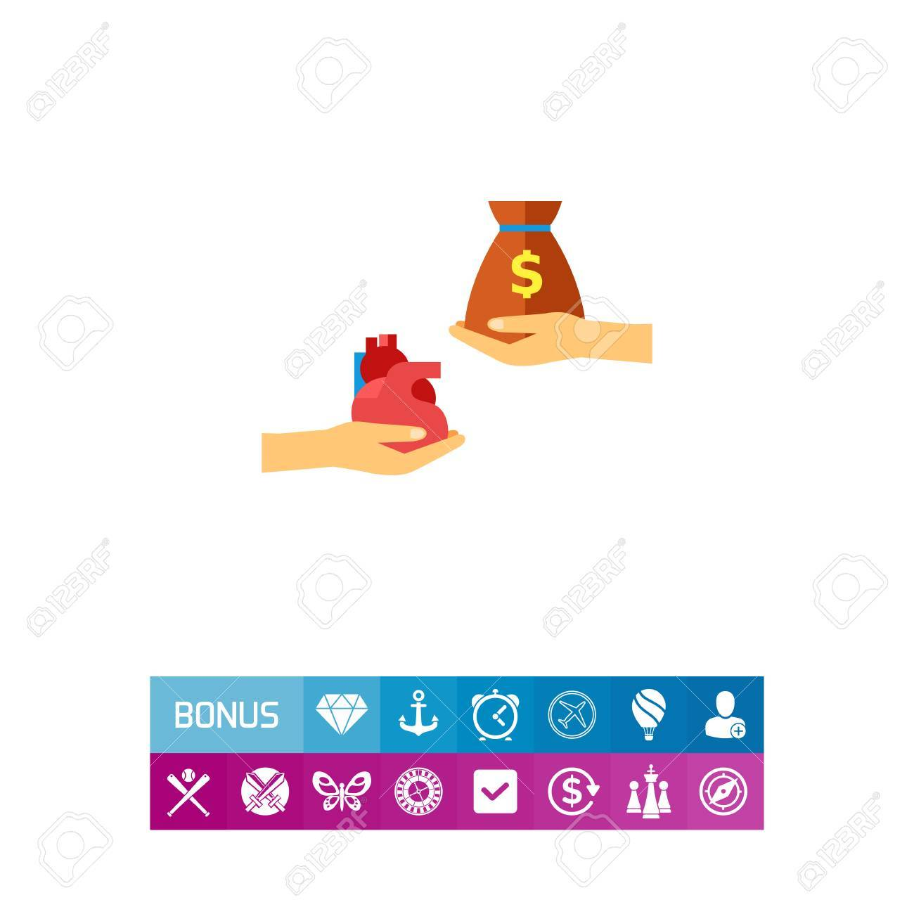 Vector Icon Of Hands Exchanging Heart And Money Sack Organ
