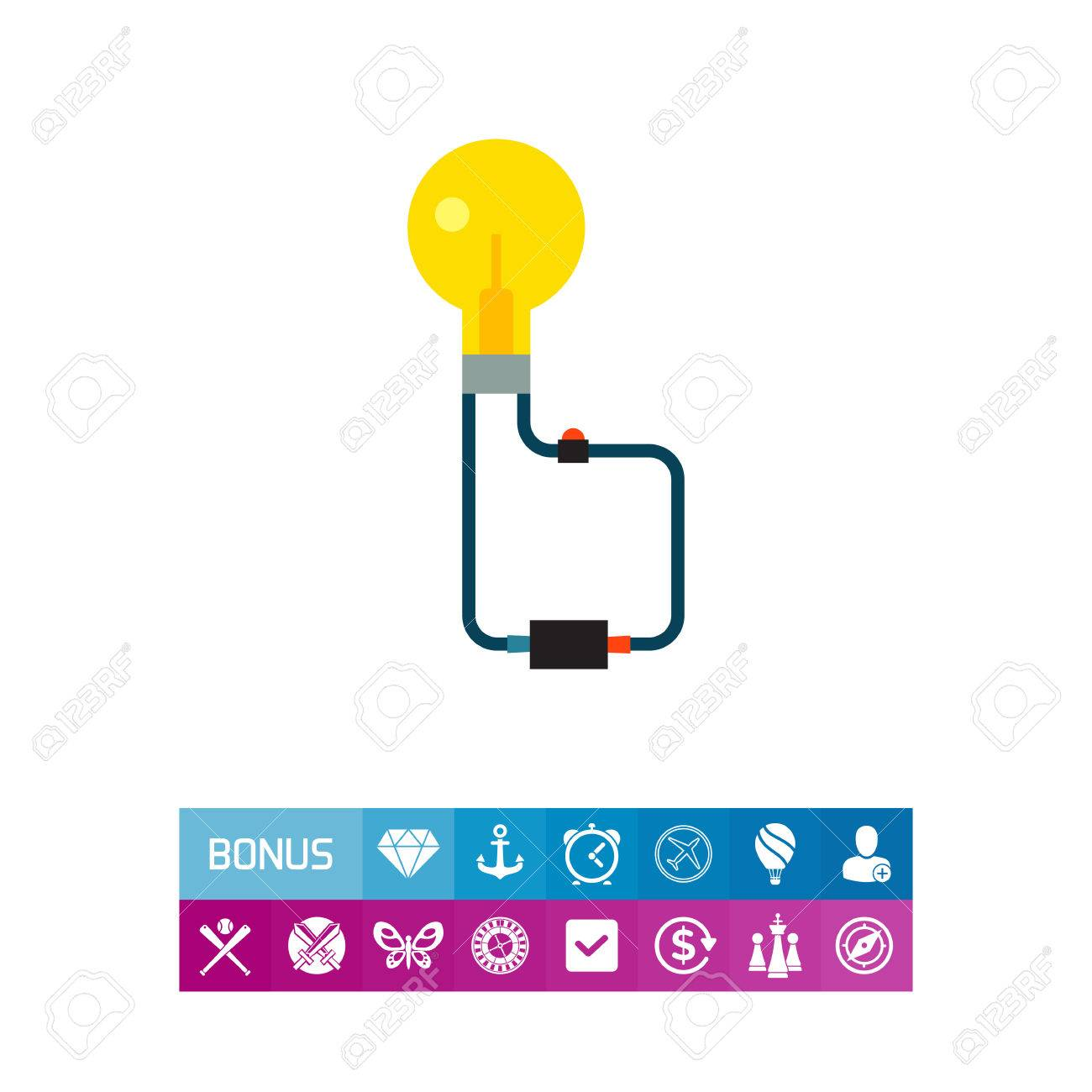 Icon Of Power Switch. Education, Lightbulb, Voltage. Science ...