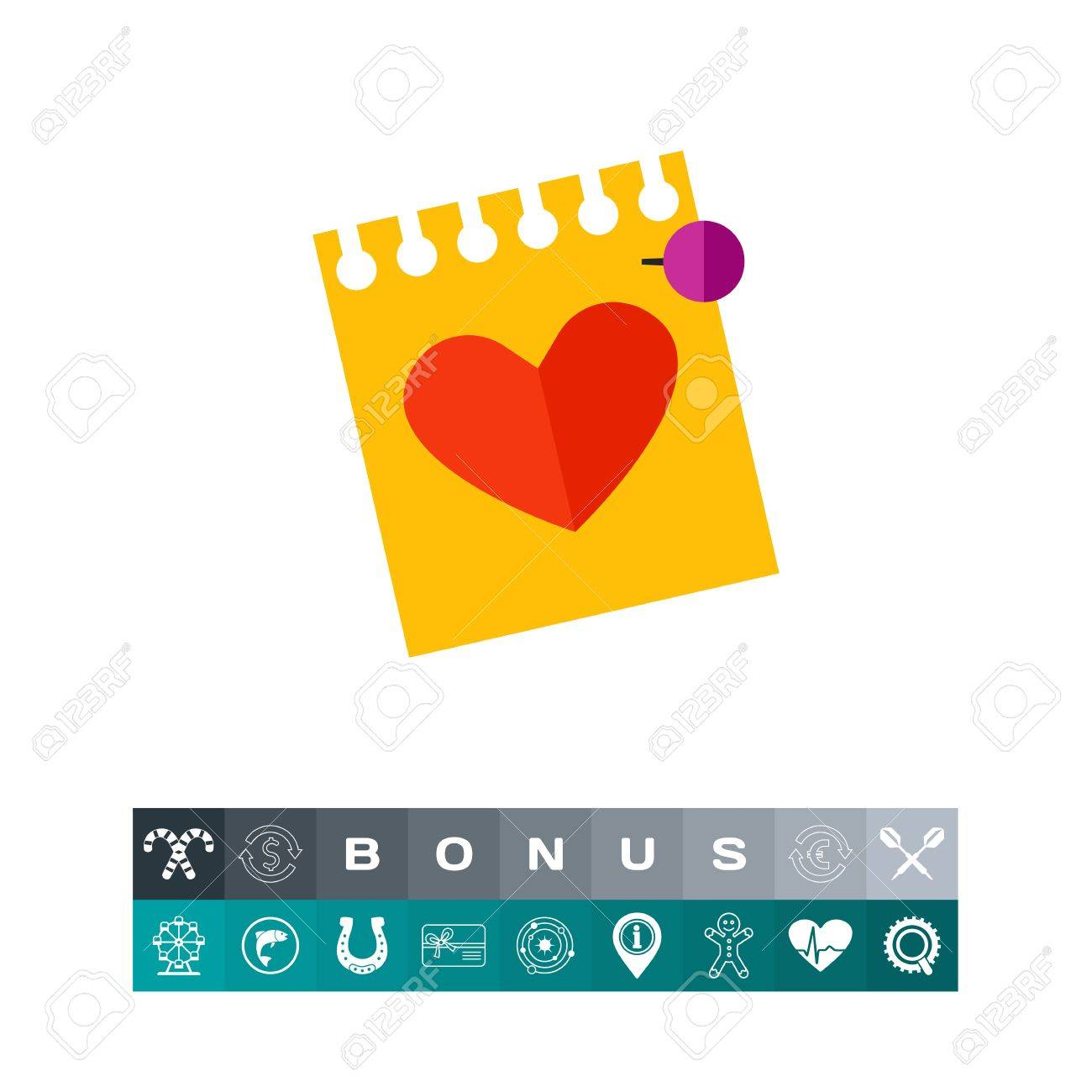 Icon Of Yellow Sheet With Love Letter Or Calendar Page With Heart