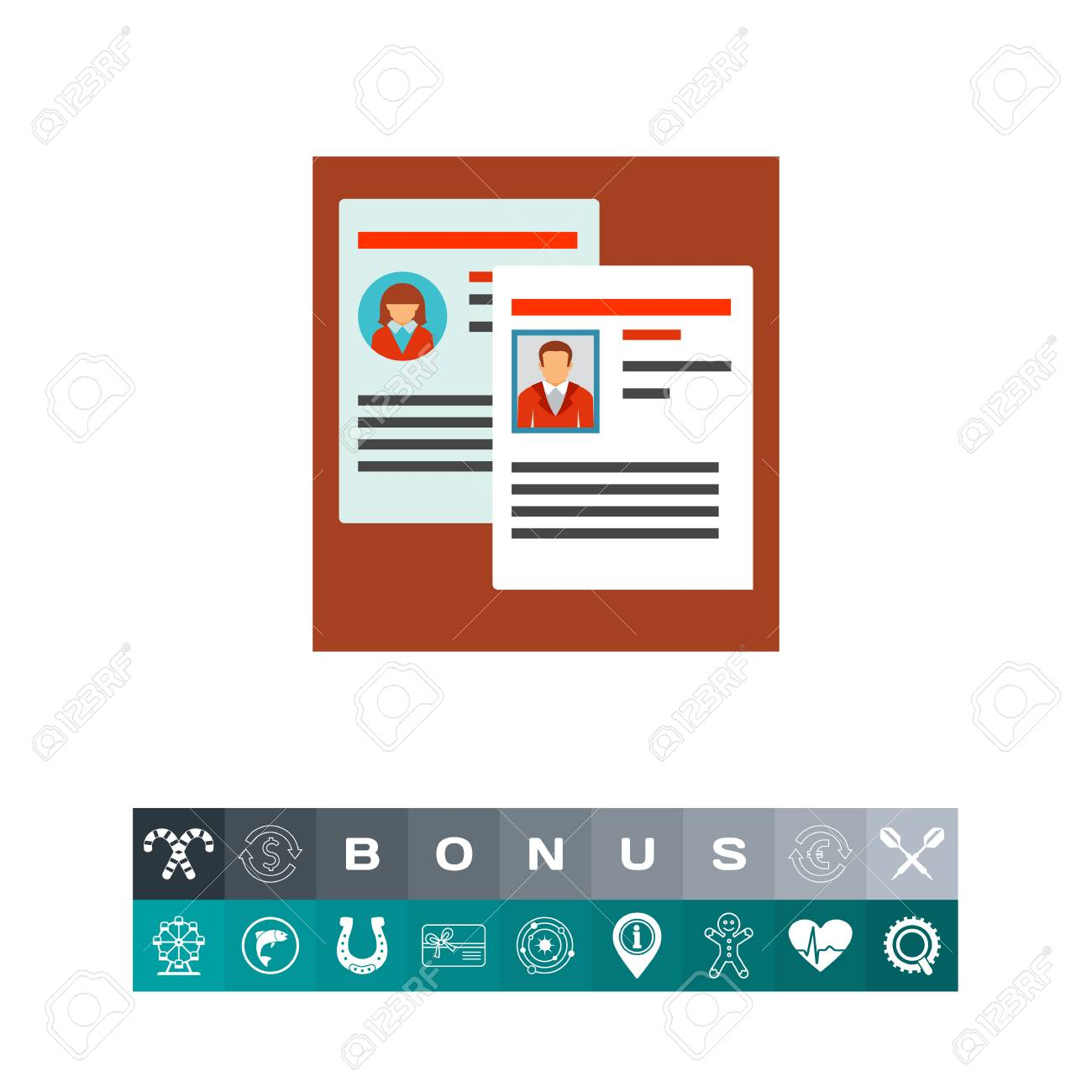 vector vector icon of two employees personal files staff reshuffle resume career head hunting concept can be used for topics like business