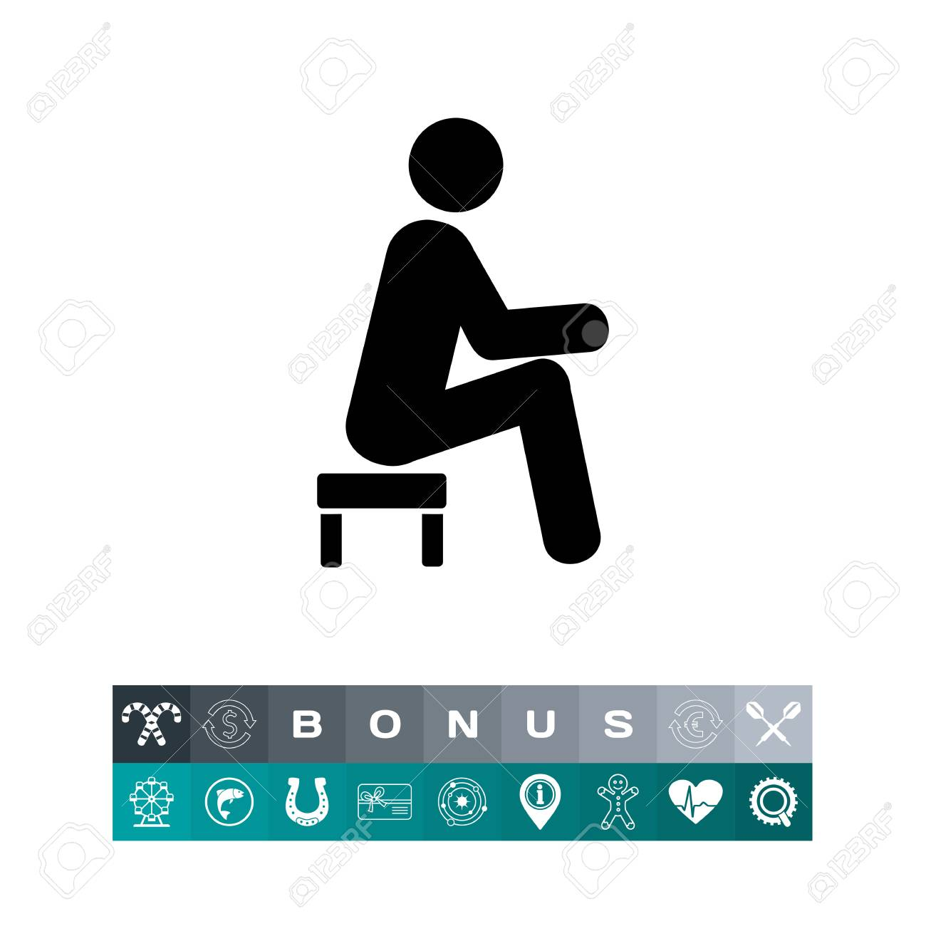 Fabulous Man Sitting On Small Stool Icon Gmtry Best Dining Table And Chair Ideas Images Gmtryco