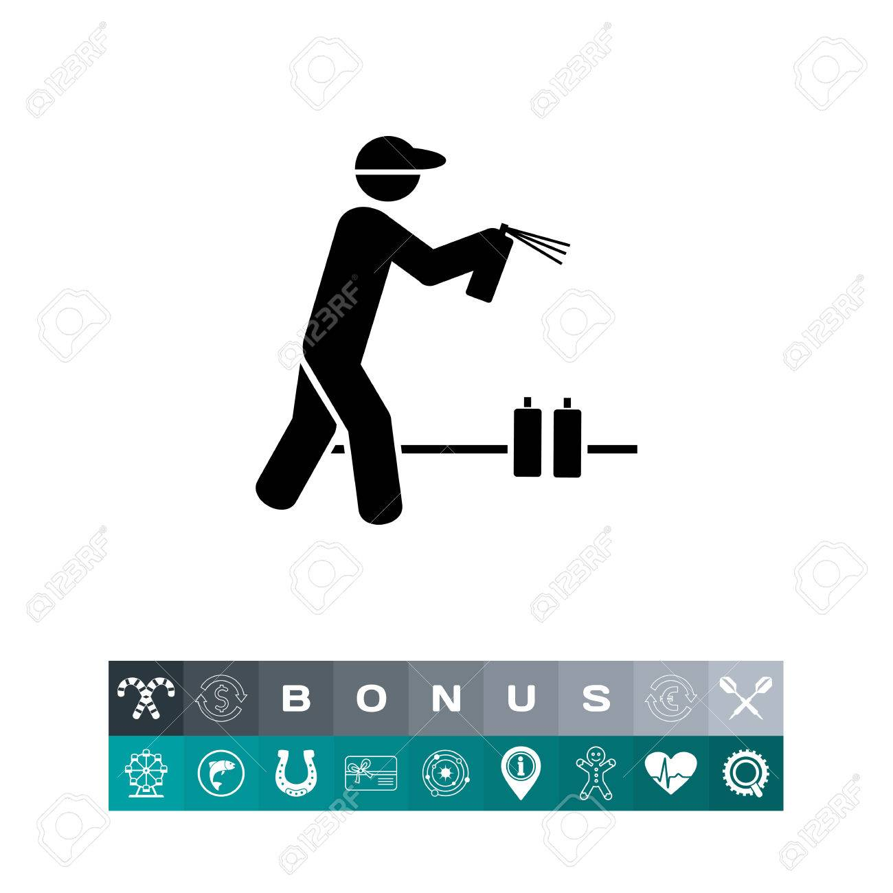 man with graffiti spray can icon royalty free cliparts vectors and