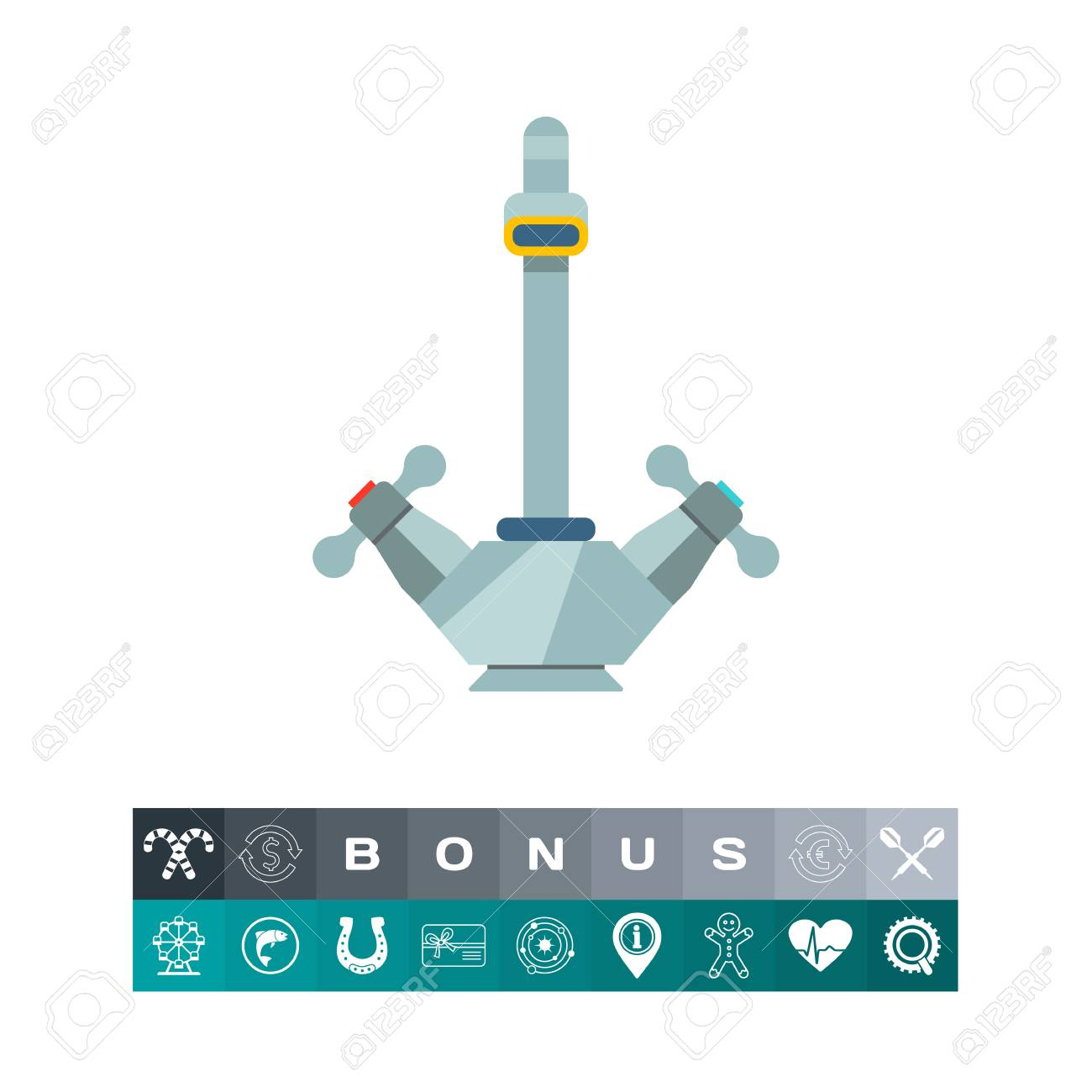 Icon Of Traditional Water Tap With Knobs Royalty Free Cliparts ...