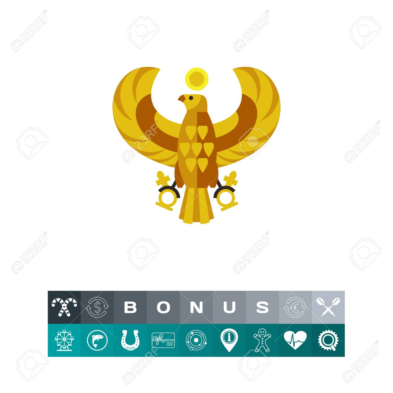 Egyptian Horus Falcon Vector Icon Royalty Free Cliparts Vectors