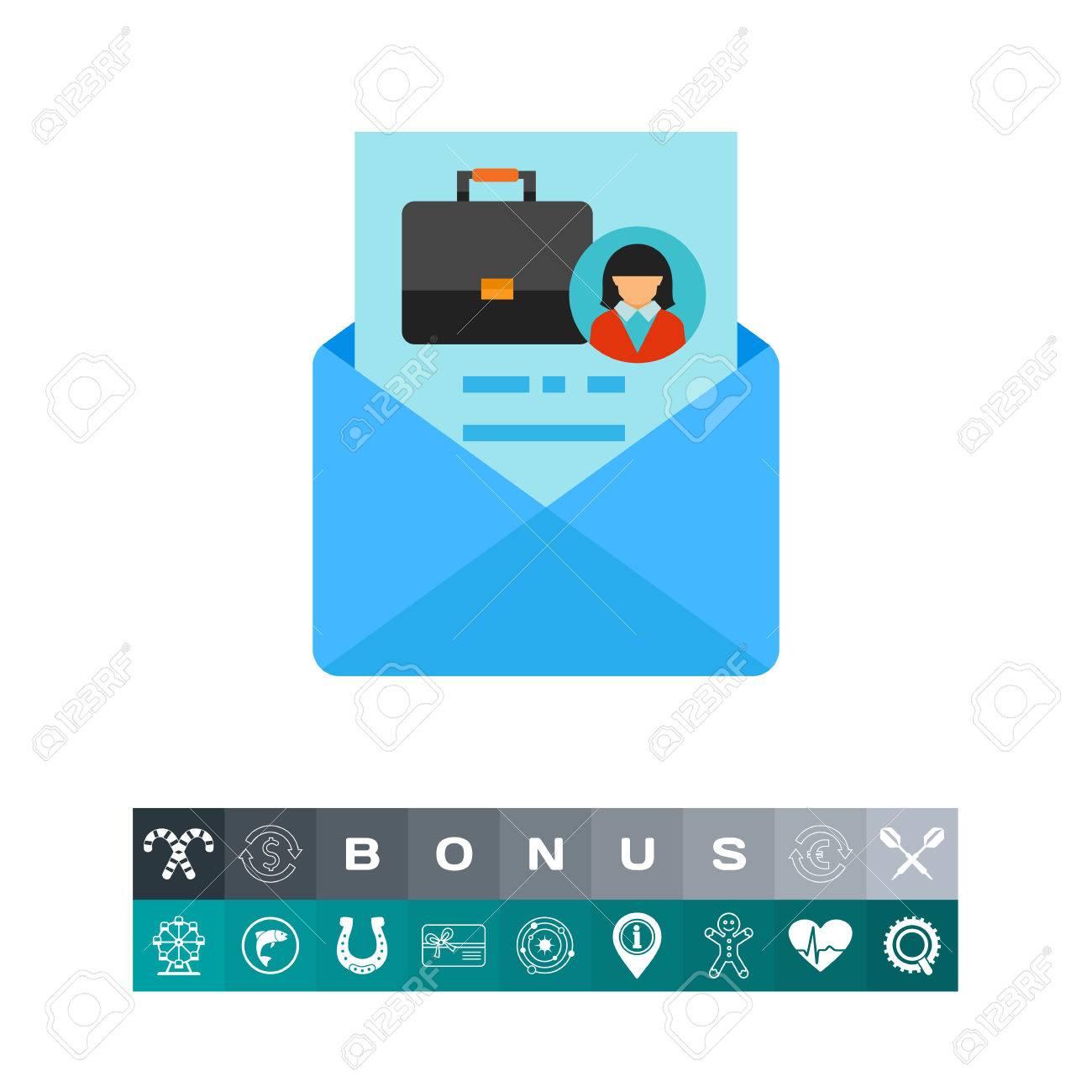 Une Icone De Vecteur D Enveloppe Avec Lettre De Motivation Cv