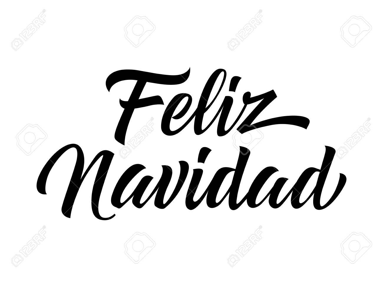 Feliz Navidad Lettering. Spanish Christmas Greeting Card ...