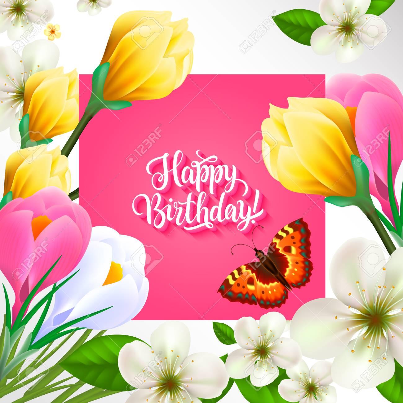 Joyeux Anniversaire Lettrage Avec Fleurs Et Papillons Texte