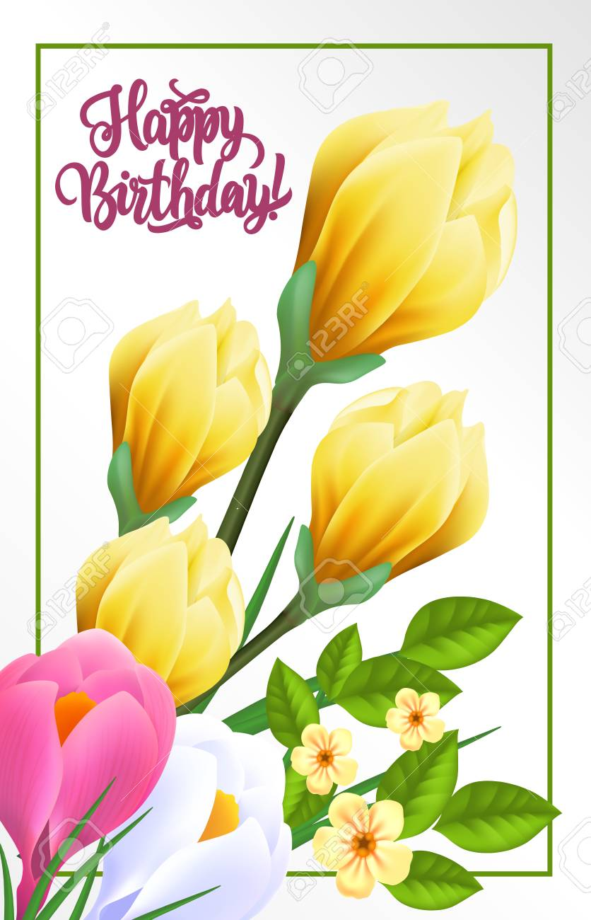 Happy Birthday Lettering Blossom Background With Spring Flowers