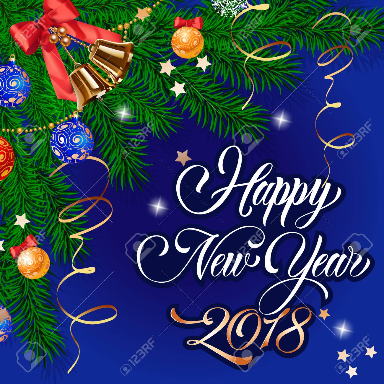 Happy New Year 2018 Lettering. Beautiful Background With Christmas ...