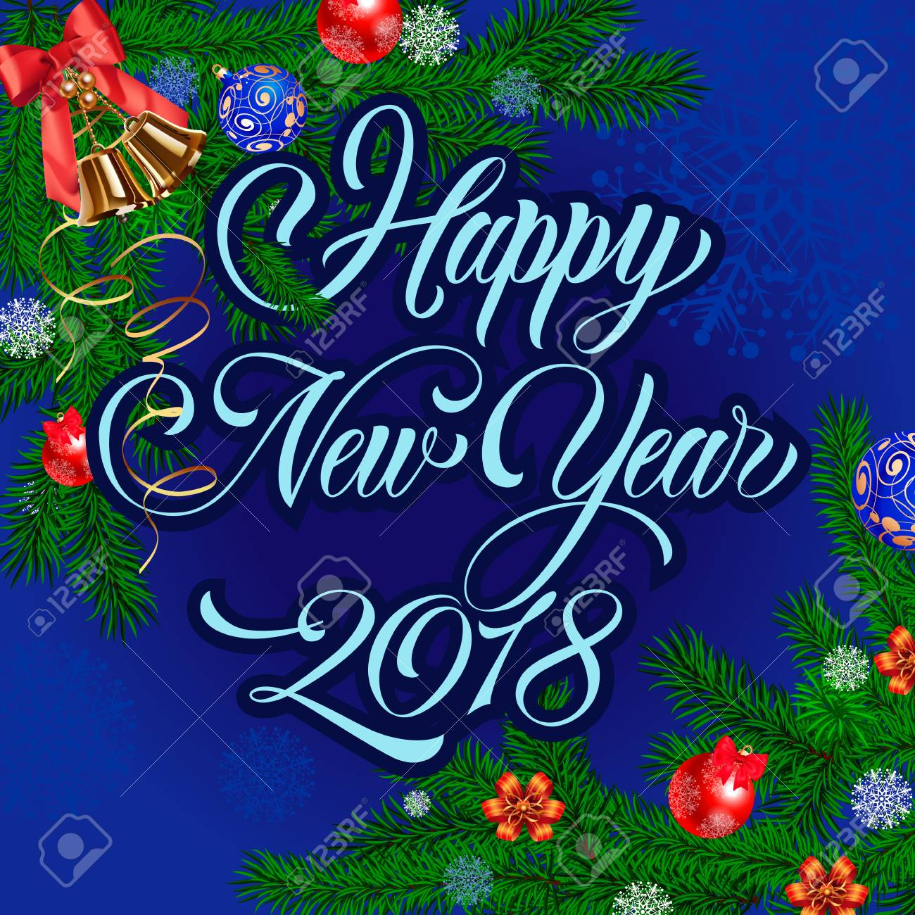 happy new year 2018 lettering in blue color beautiful inscription with twigs decorated with ribbons