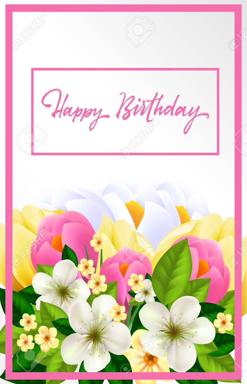 Happy Birthday Card For Woman Stock Vector