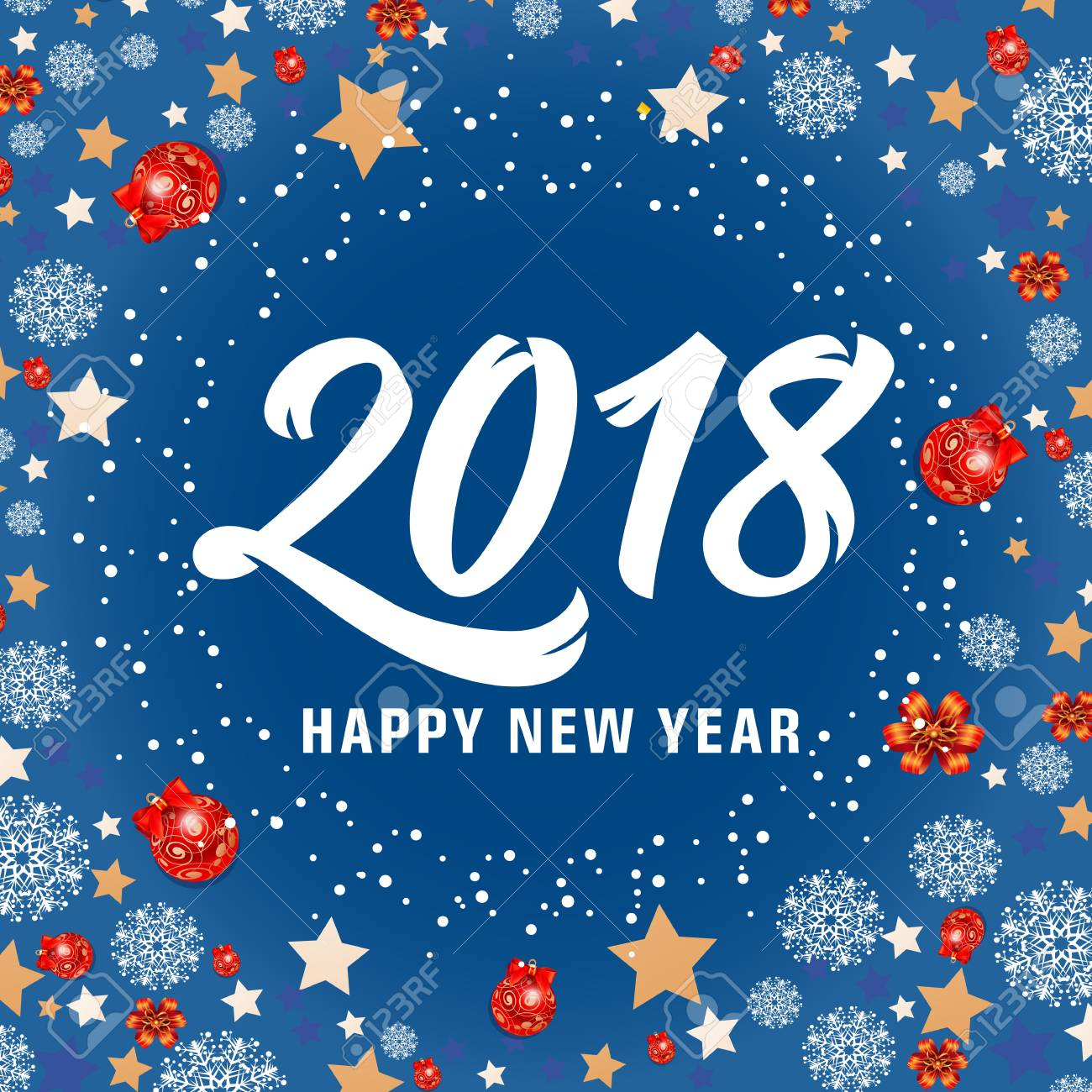 Happy new year 2018 lettering new year day greeting card with happy new year 2018 lettering new year day greeting card with stars balls and m4hsunfo