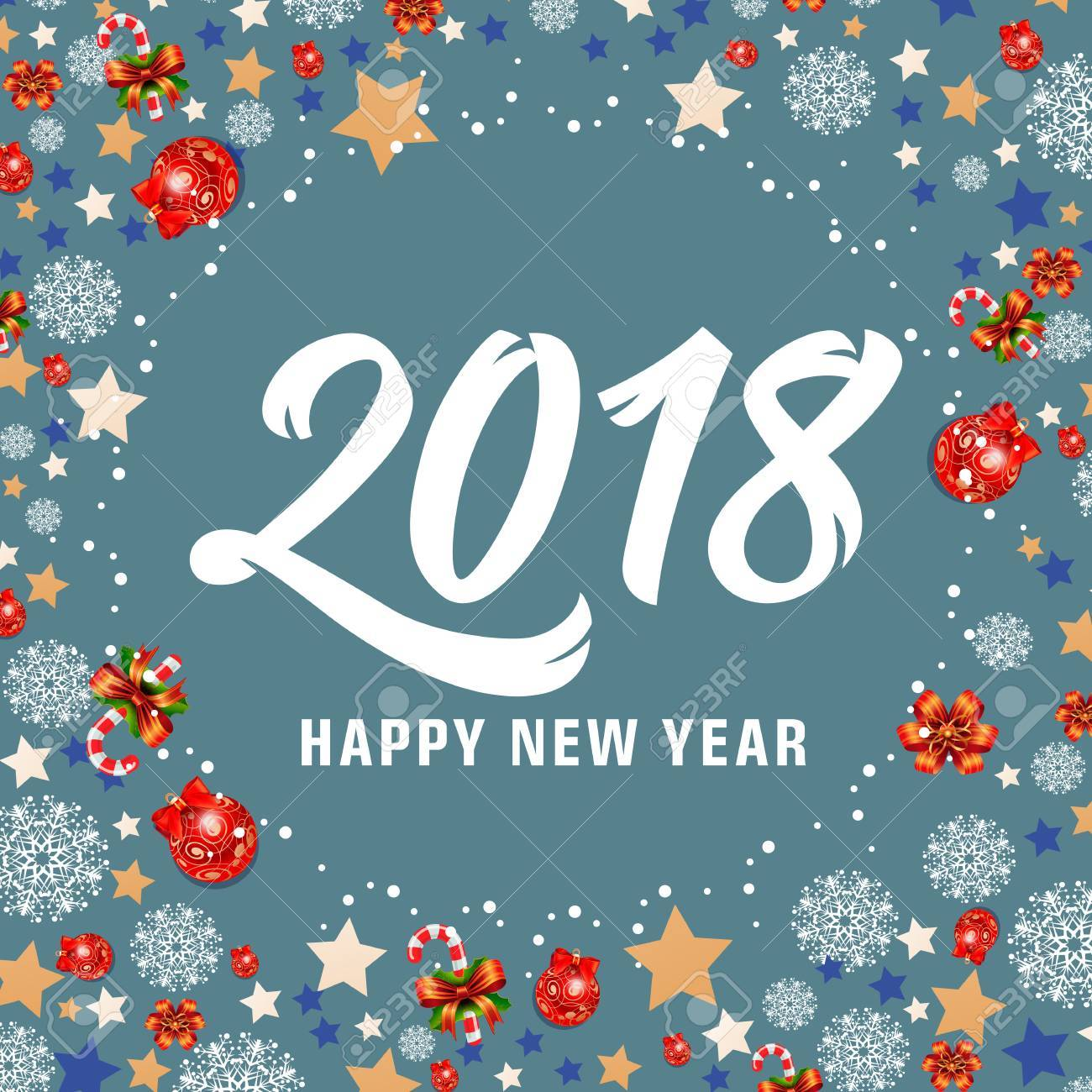 Happy new year 2018 lettering new year day greeting card with happy new year 2018 lettering new year day greeting card with stars candy canes m4hsunfo