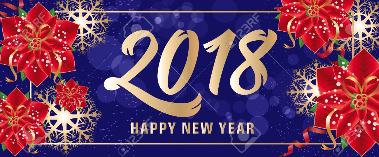 Happy New Year 2018 Lettering In Frame New Year Day Greeting