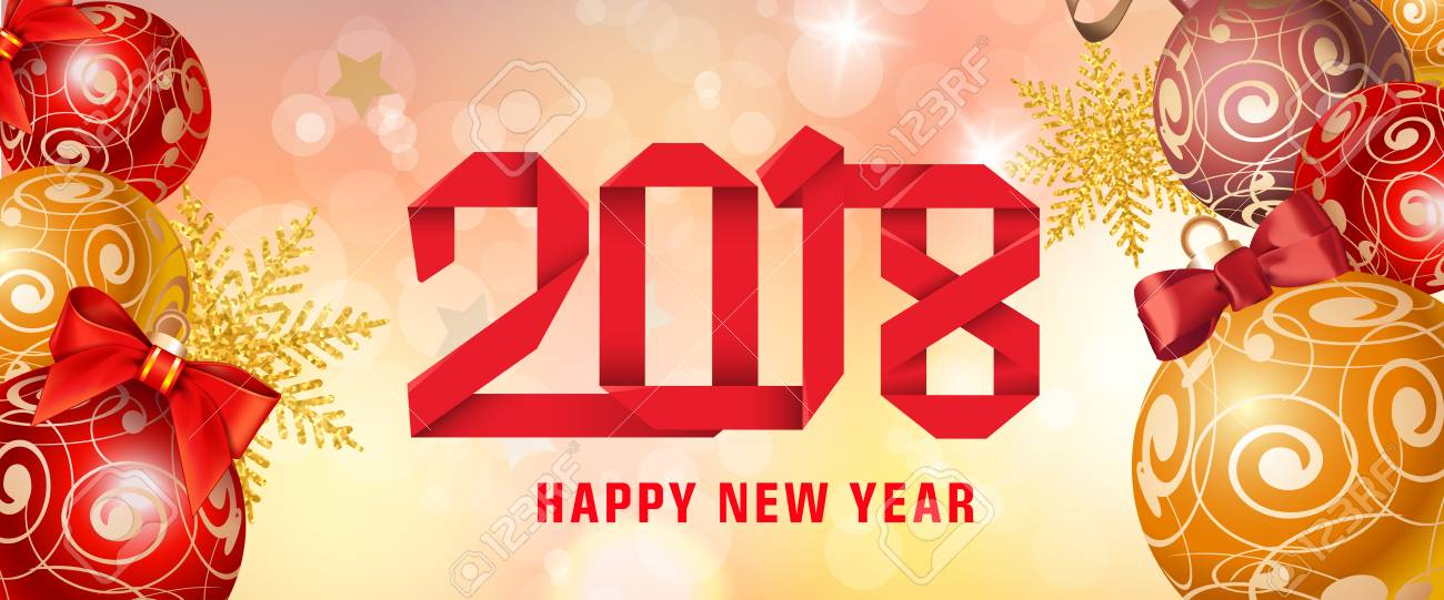 Happy new year 2018 paper lettering new year day greeting card happy new year 2018 paper lettering new year day greeting card with balls typed m4hsunfo