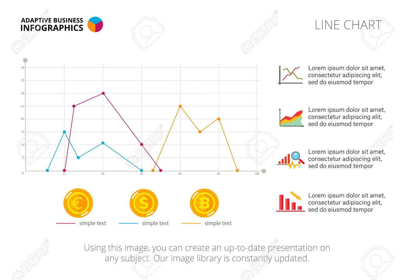 Three Line Charts. Diagram, Graph And Template. Creative Concept ...