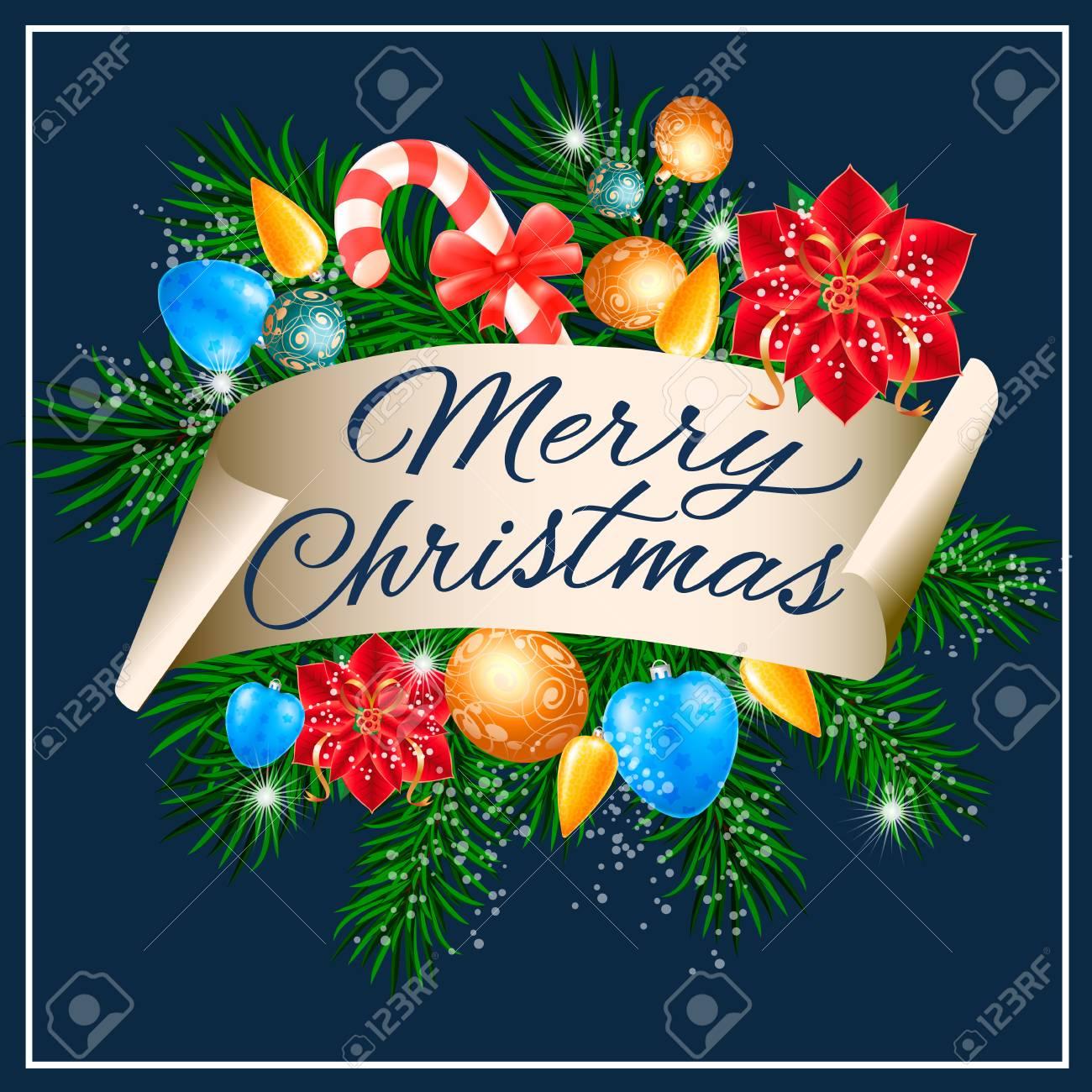 Immagini Con Scritte Di Buon Natale.Buon Natale Scritte Con Decorazioni Rametti Di Abete E Ornamenti Di Natale Testo Scritto A Mano Calligrafia Puo Essere Utilizzato Per Biglietti Di
