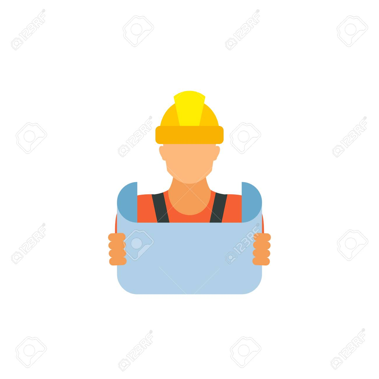 Icon of reviewing blueprint engineer building contractor foreman icon of reviewing blueprint engineer building contractor foreman engineering concept can malvernweather Image collections