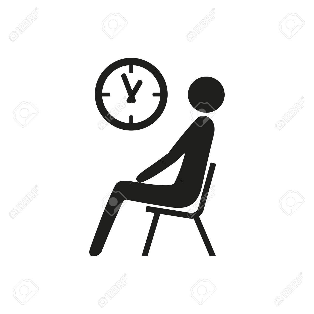 Icono Del EsperaEntrevista De RelojConcurso Estación EstaciónSala Sentado Simple Hombre La TrabajoConcepto Debajo KF1lcJ