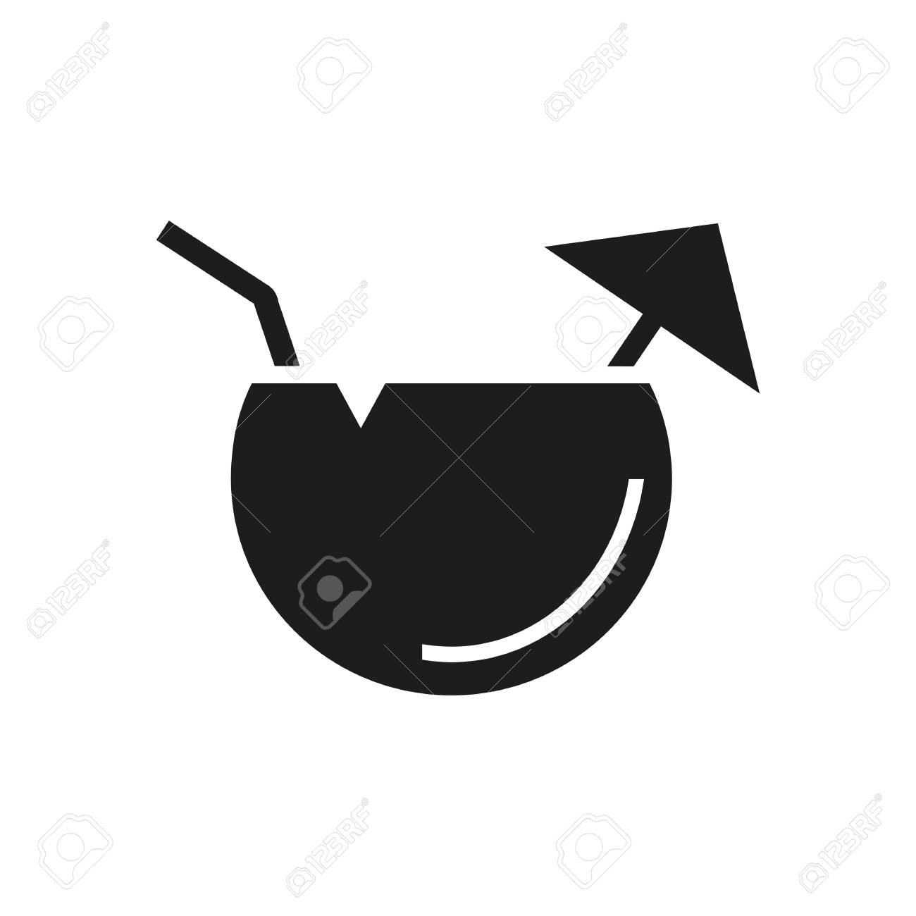 f58a85602888 Simple icon of fruit cocktail with umbrella and straw. Tropical..