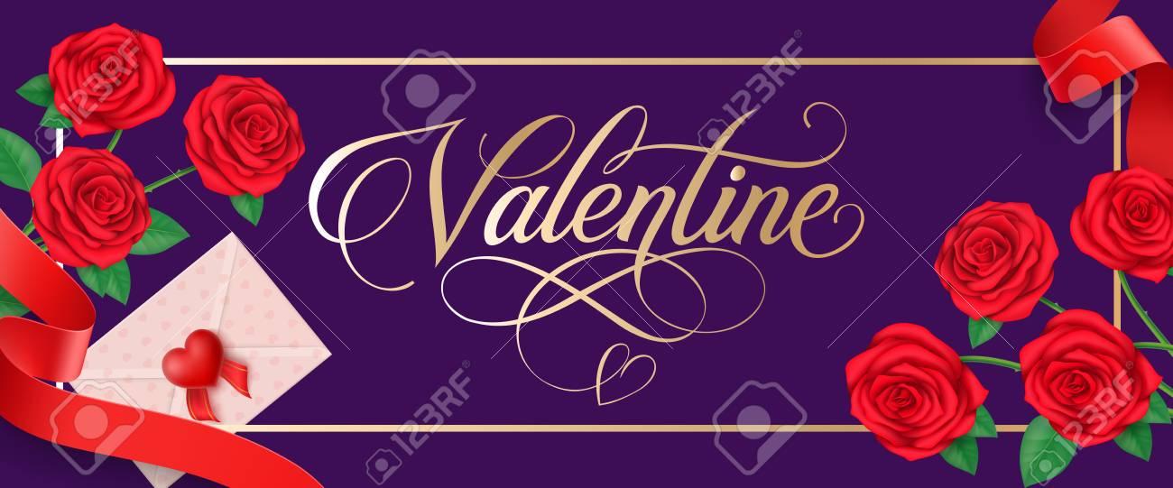 Letras De San Valentín En El Marco. Tarjeta De Felicitación Del Día ...