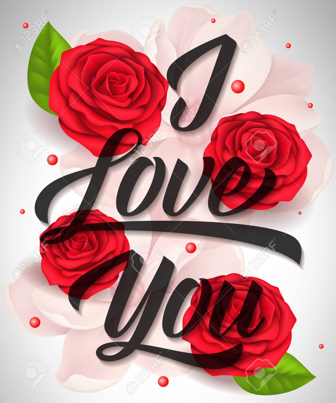I Love You Lettering With Blossoms And Roses Calligraphic Inscription Royalty Free Cliparts Vectors And Stock Illustration Image 92933040