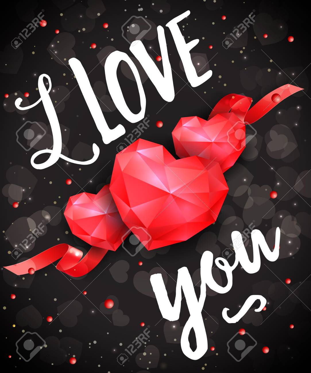 I Love You Lettering With Ruby Hearts On Black Background
