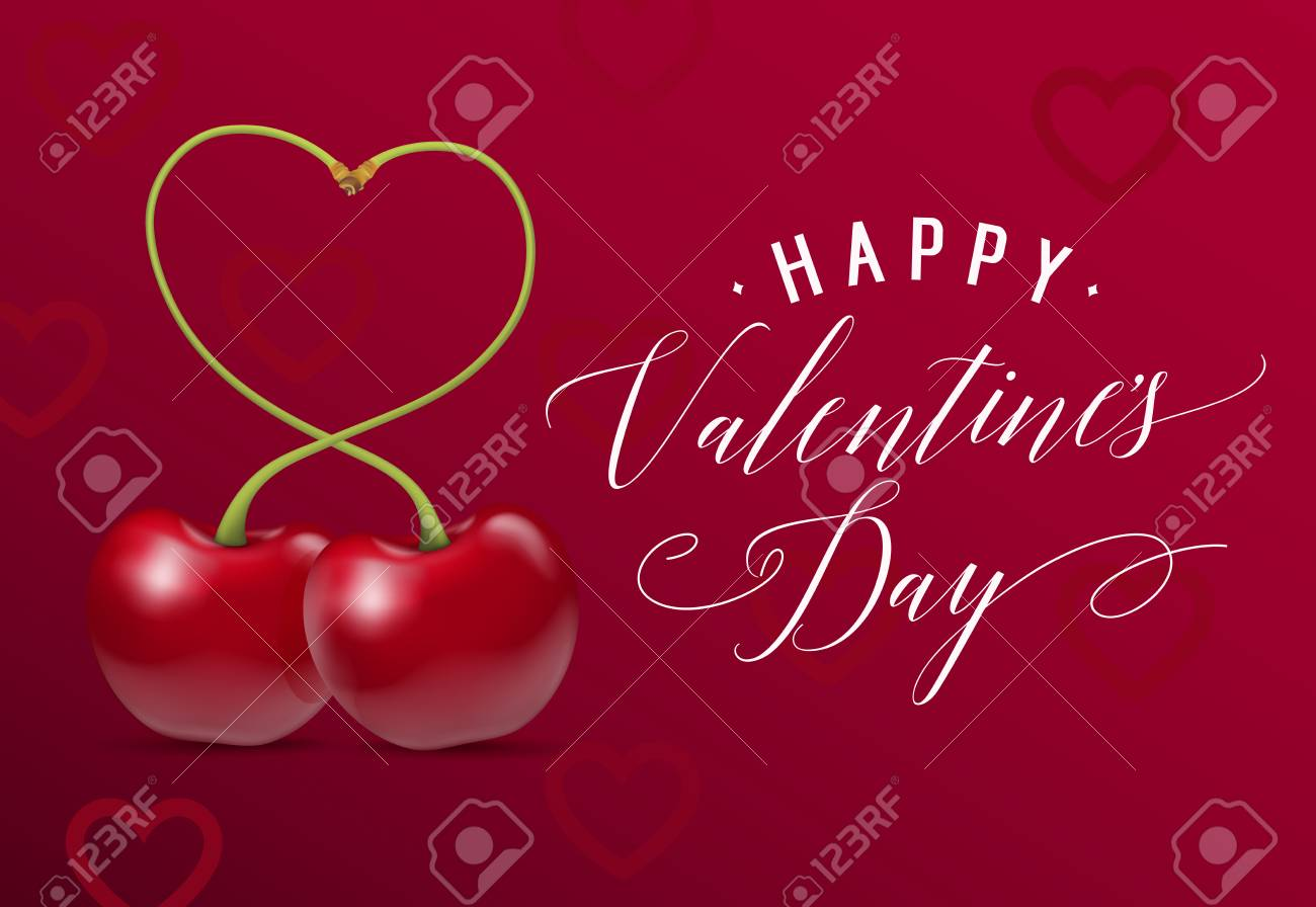 Happy Valentines Day Lettering Valentines Day Greeting Card