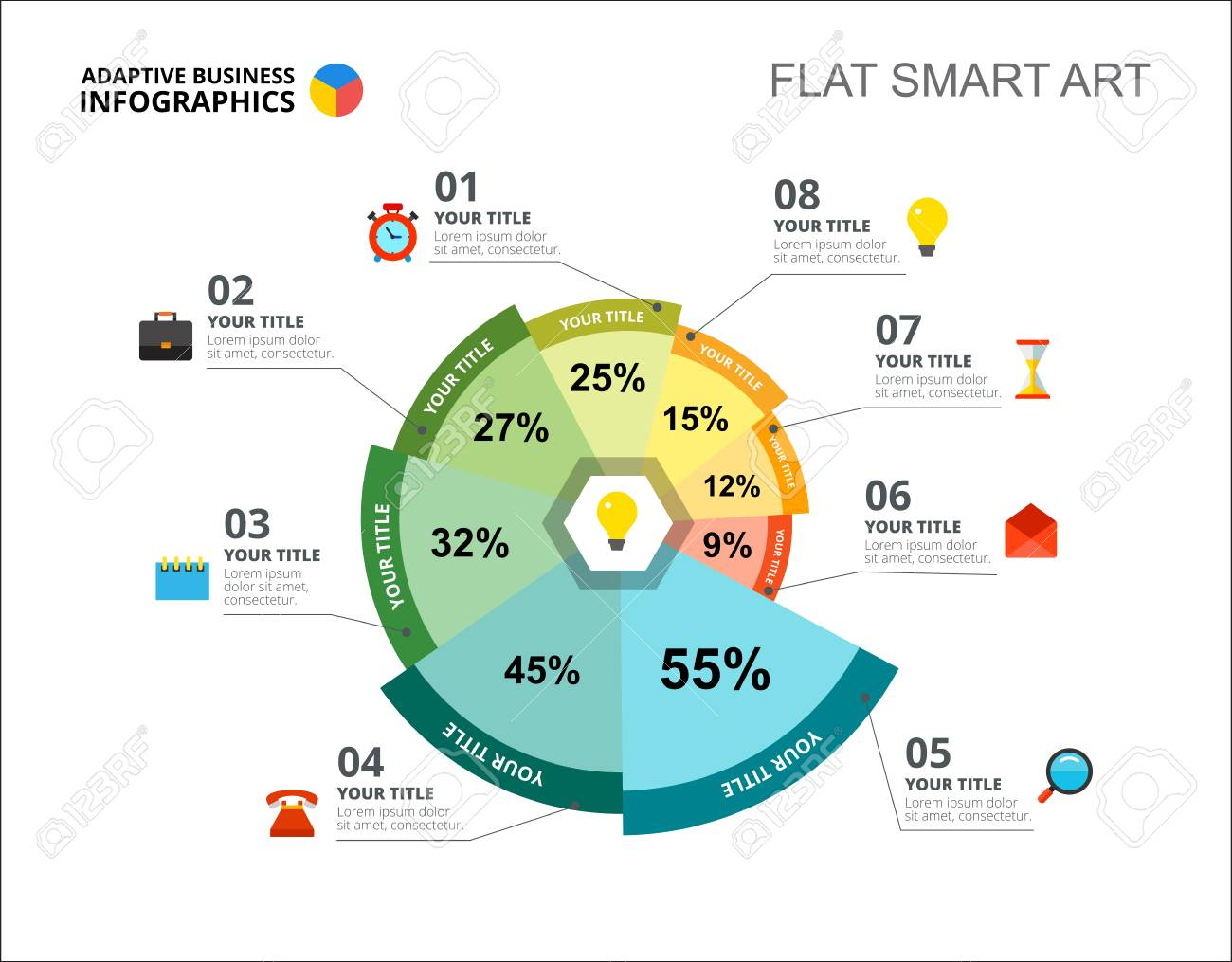 Eight options percentage chart slide template. Business data. Idea, project, design. Creative concept for infographic, report. Can be used for topics like management, marketing, research. - 94130747