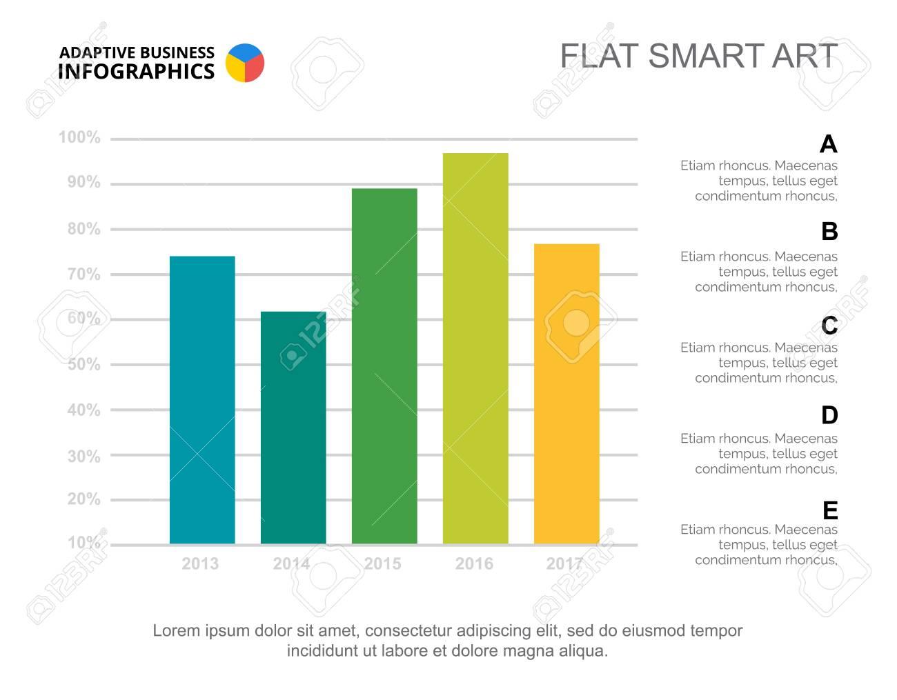 Five columns bar chart business data percent comparison diagram