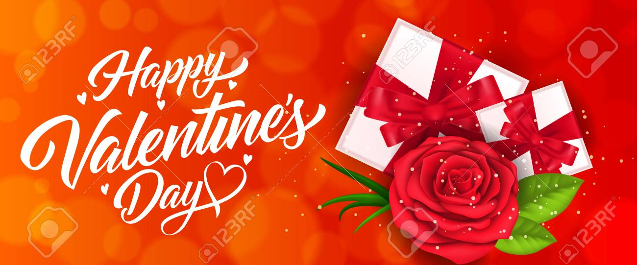 Happy Valentines Day Banner With Gifts Royalty Free Cliparts