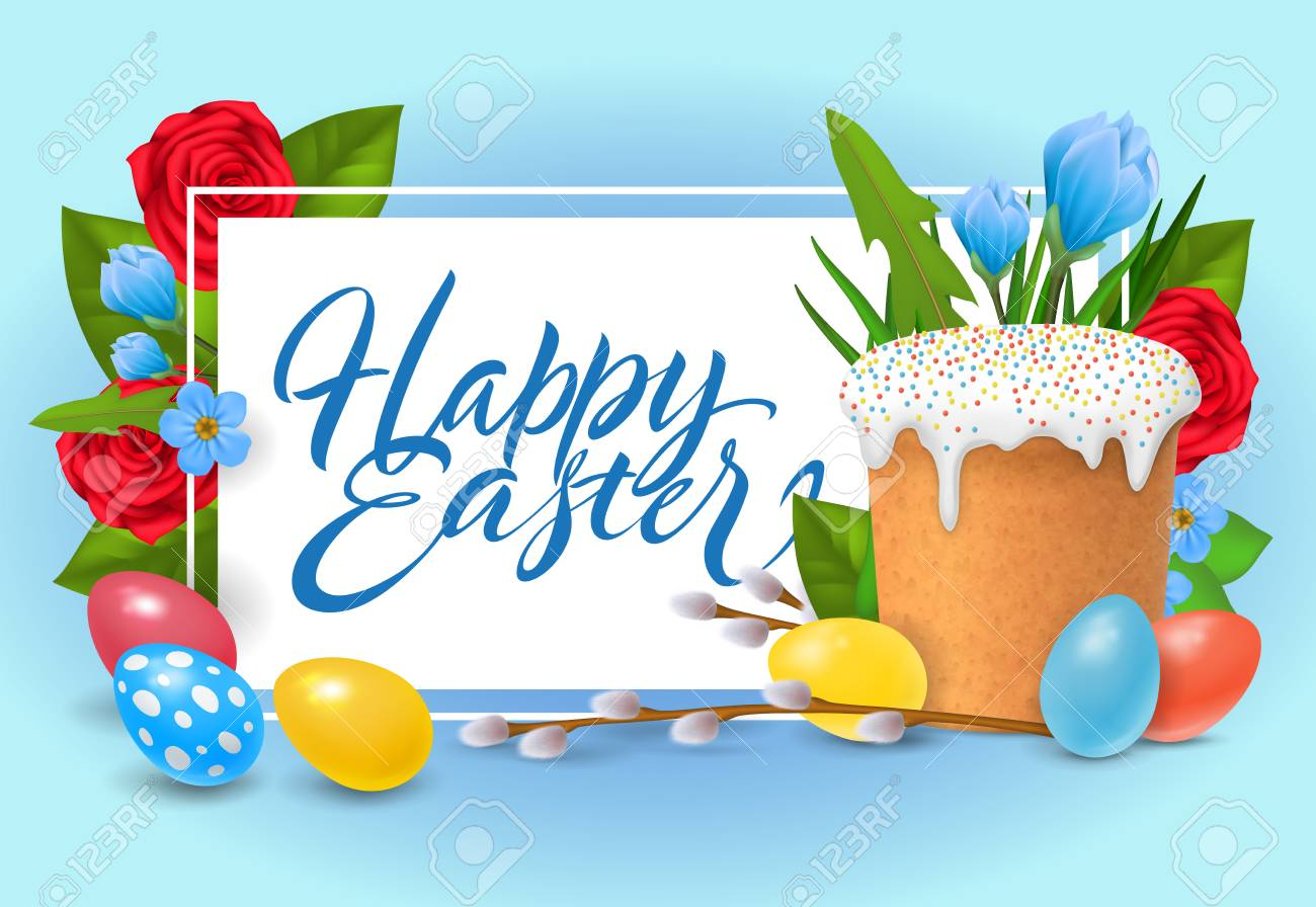 Happy Easter Lettering Religious Celebration Inscription With