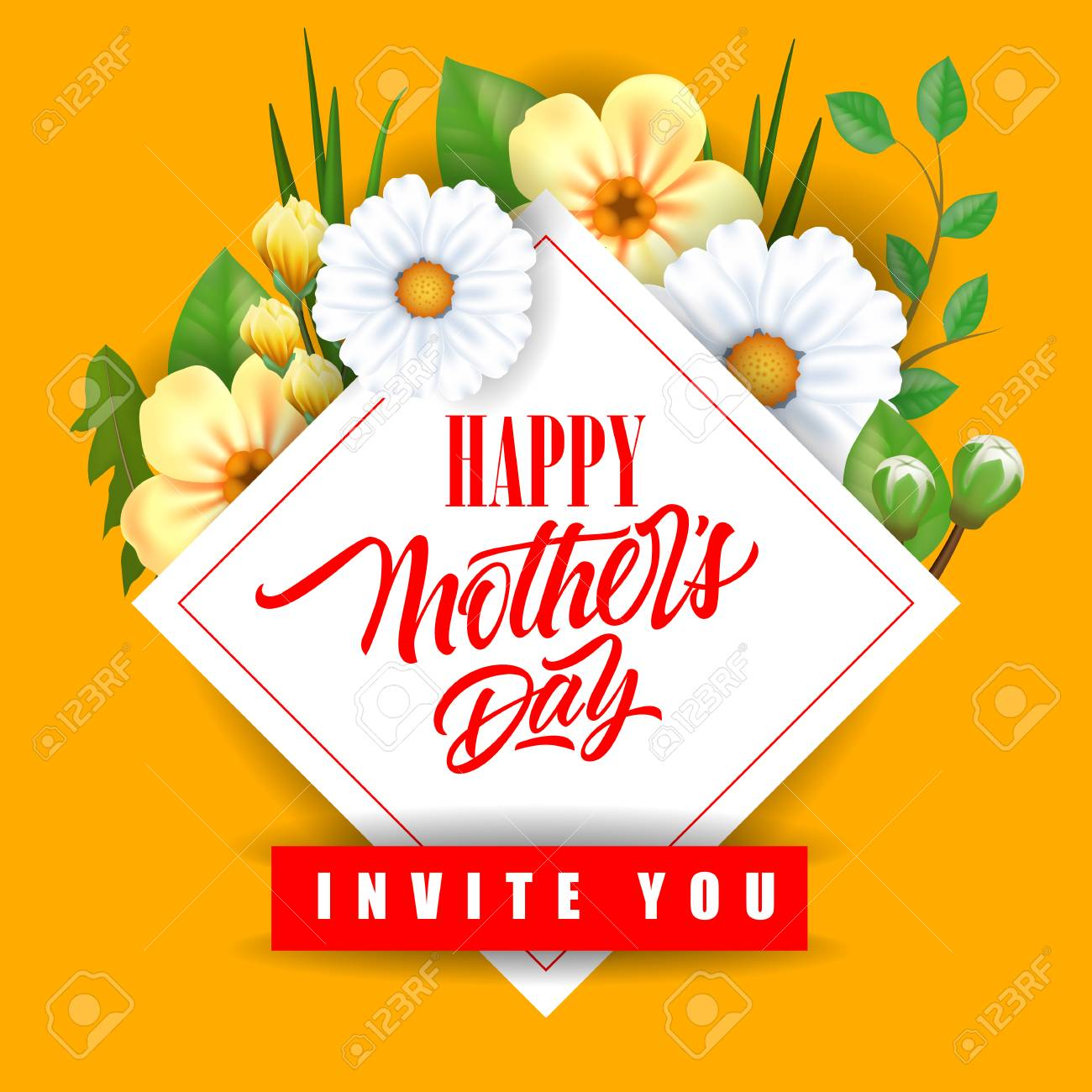 happy mother day invite you lettering with flowers mothers day