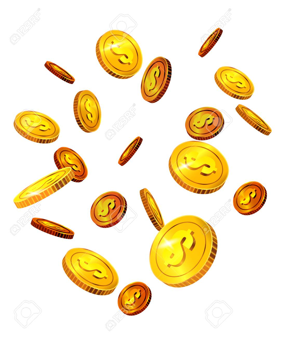 Falling Dollar Coins Success Luck Money Investment Concept