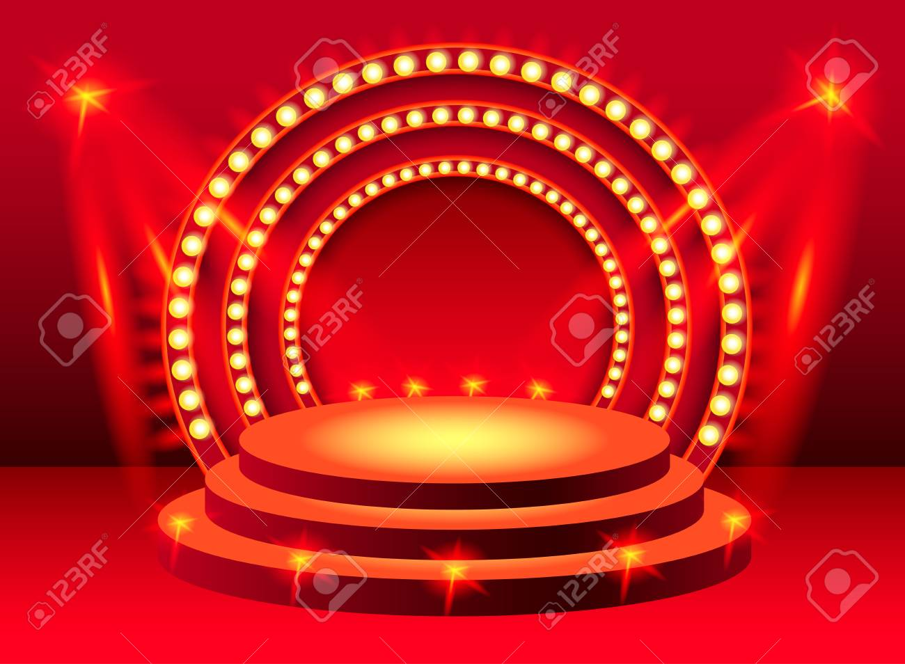 Round red stage podium with lighting design element for banners