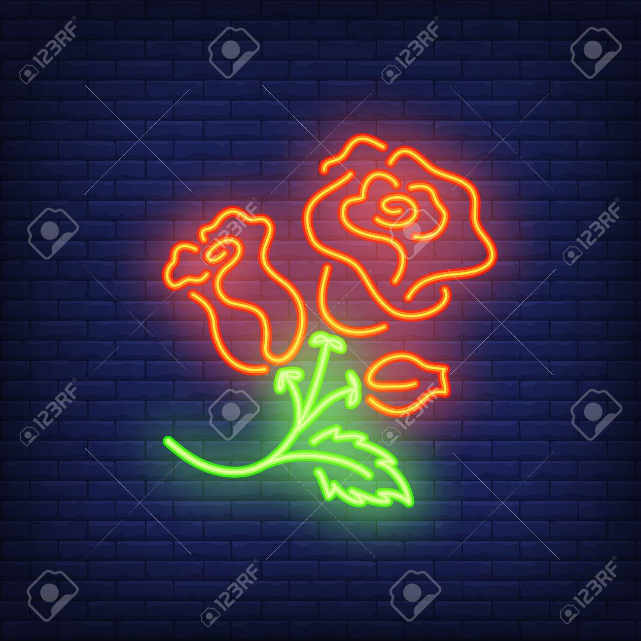 Rose Bush Neon Sign Element Flower Concept For Night Bright