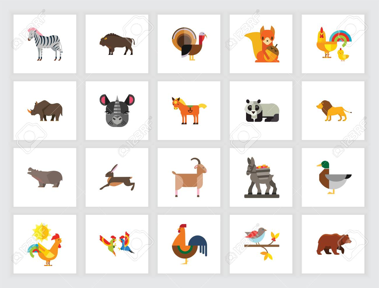 Animal Species Concept. Flat Icon Set. Zoo, Domestic Animals,.. Royalty Free  Cliparts, Vectors, And Stock Illustration. Image 105110864.